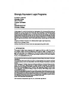 Strongly Equivalent Logic Programs - Semantic Scholar