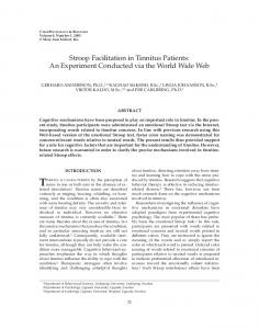 Stroop Facilitation in Tinnitus Patients: An