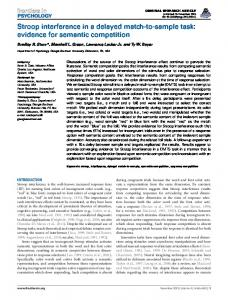 Stroop interference in a delayed match-to-sample ... - Semantic Scholar