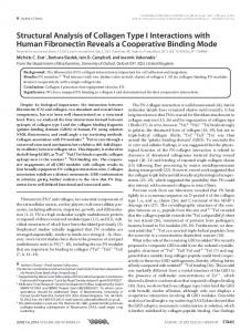 Structural Analysis of Collagen Type I Interactions ... - BioMedSearch
