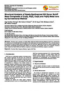 Structural Analysis of Newly Synthesized NO Donor Schiff Base