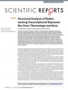 Structural Analysis of Redox-sensing Transcriptional
