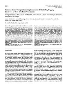 Structural and Compositional Optimization of the LiNi0.8Co0 ... - SciELO