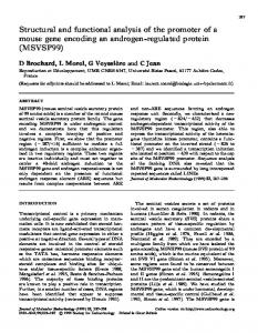 Structural and functional analysis of the promoter of a ... - CiteSeerX