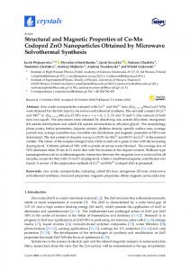 Structural and Magnetic Properties of Co-Mn Codoped ZnO ... - MDPI