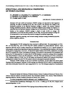structural and mechanical properties of tin/bcn coatings - Springer Link