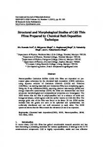 Structural and Morphological Studies of CdS Thin