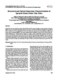 Structural and Optical Dispersion Characterisation of Sprayed Nickel ...