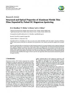 Structural and Optical Properties of Aluminum Nitride Thin Films ...