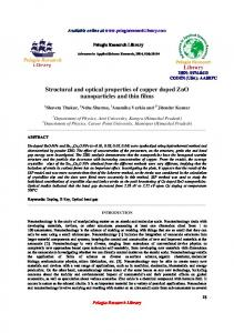 Structural and optical properties of copper doped ZnO ... - iMedPub
