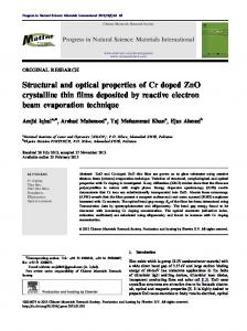 Structural and optical properties of Cr doped ZnO crystalline ... - Core