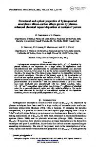 Structural and optical properties of hydrogenated amorphous silicon ...
