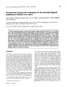 Structural and stereospecific requirements for the ...