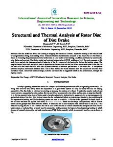 Structural and Thermal Analysis of Rotor Disc of Disc Brake