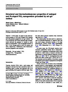 Structural and thermoluminescence properties of ... - Springer Link