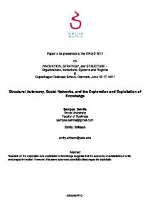 Structural Autonomy, Social Networks, and the Exploration and ... - AAU