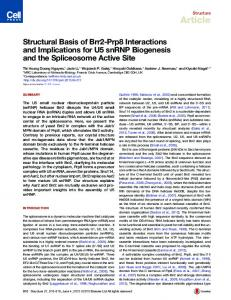 Structural Basis of Brr2-Prp8 Interactions and Implications for U5 ...