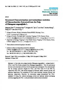 Structural Characterization and Antioxidant