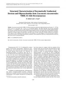 Structural Characterization of Enzymatically Synthesized Dextran and ...