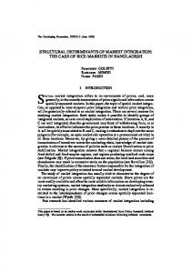 STRUCTURAL DETERMINANTS OF MARKET INTEGRATION: THE ...
