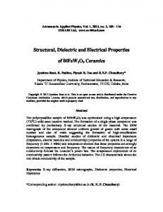 Structural, Dielectric and Electrical Properties of BiFeW2O9 Ceramics