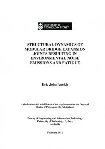 Structural dynamics of modular bridge epansion joints ...