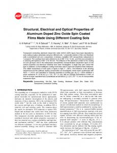 Structural, Electrical and Optical Properties of