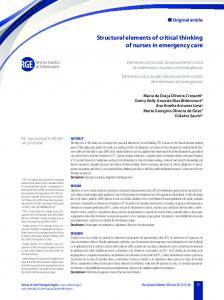 Structural elements of critical thinking of nurses in emergency care