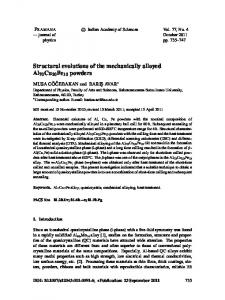 Structural evolutions of the mechanically alloyed Al70Cu20Fe10 ...