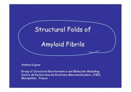 Structural Folds of Amyloid Fibrils Amyloid Fibrils