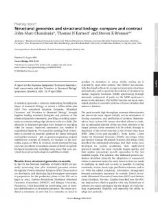Structural genomics and structural biology - Berkeley Structural ...