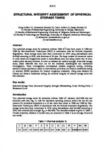 structural integrity assessment of spherical storage tanks - European ...