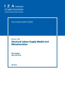 Structural Labour Supply Models and Microsimulation - IZA