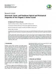 Structural, Linear, and Nonlinear Optical and Mechanical Properties of ...