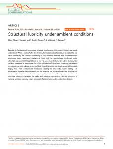 Structural lubricity under ambient conditions - Semantic Scholar