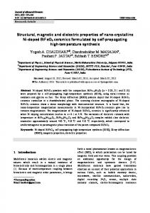 Structural, magnetic and dielectric properties of nano ... - Springer Link