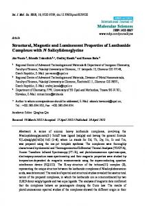 Structural, Magnetic and Luminescent Properties of Lanthanide