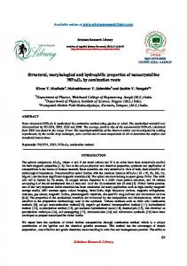 Structural, morphological and hydrophilic properties of nanocrystalline ...