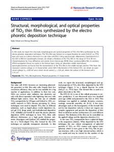 Structural, morphological, and optical properties of ... - BioMedSearch