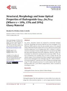 Structural, Morphology and Some Optical Properties of Chalcogenide