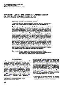 Structural, Optical, and Electrical Characterization of Al ... - Springer Link
