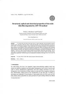 Structural, optical and electrical properties of tin oxide ... - Springer Link