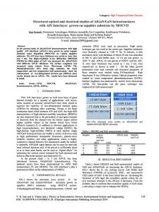 Structural Optical and Electrical Studies of AlGaN/GaN Hetrostructures ...