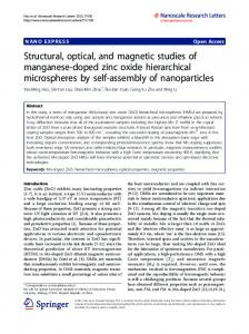 Structural, optical, and magnetic studies of ... - BioMedSearch