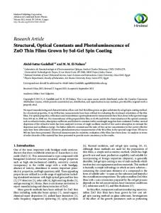 Structural, Optical Constants and Photoluminescence of ZnO Thin