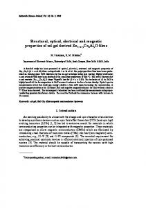Structural, optical, electrical and magnetic properties of sol ... - CiteSeerX