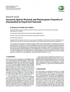 Structural, Optical, Electrical, and Photoresponse Properties of ...