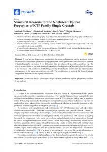 Structural Reasons for the Nonlinear Optical Properties of KTP ... - MDPI