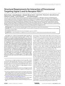 Structural Requirements for Interaction of Peroxisomal Targeting ...