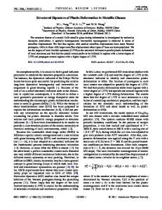 Structural Signature of Plastic Deformation in Metallic Glasses - Index of